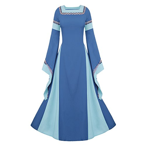 Women's Medieval Dress Halloween Cosplay Costume Lace Up Vintage Floor Length Retro Long Dress (XL, C-light blue) ()