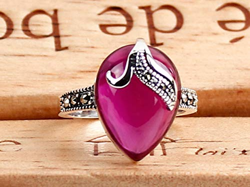 RIOS S925 Sterling Silver Red Corundum Ring Fashion Vintage Ring Natural Crystal Jewelry,Purple,No.17