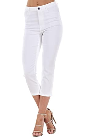 Ladies White Embellished Cropped Trousers Stretch Slim Summer 3/4 ...