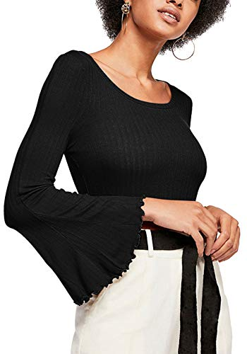 (Tsher Yellow Bell Sleeve Slim Bottoming T-Shirt Autumn Long-Sleeved Knit Tops 0076 (M, Black) )