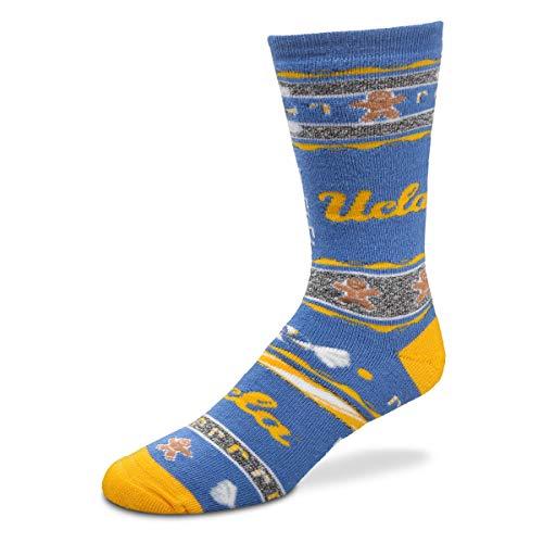 Ucla Bruins Ncaa Pattern - For Bare Feet NCAA Ugly Christmas Holiday Crew Socks (UCLA Bruins-Script Logo, Large)