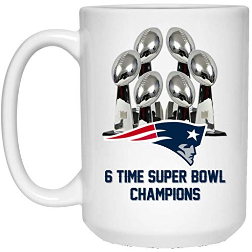 New England Patriots Coffee Mug | 6 Time Super Bowl Champions Patriots Mug | 15 oz White Ceramic Cup Great For Tea & Hot Chocolate | LIII 53 NFL NFC AFC | Perfect Unique Gift For Any Patriots Fan! -