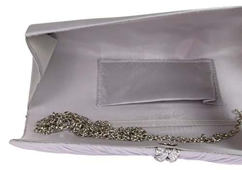 Silver Satin New Woven Bag Womens Girly Evening Elegant Pleated Diamante Bag HandBags Clutch Z4Uq7U
