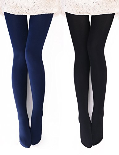 VERO MONTE 2 Pairs Womens Opaque Warm Fleece Lined Tights (BLACK + NAVY) 460421 (Stretch Thermal Tights)