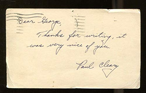 Paul Cleary Signed 1947 GPC Postcard 3x5 Autographed CFHOF USC 42056