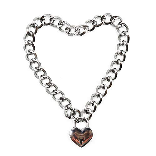 (Lover Heart Chain Necklace and Heart Padlock Day Collar with Two Keys, Locking Necklace for Women, Metal Choker Lock Pendant 18in)
