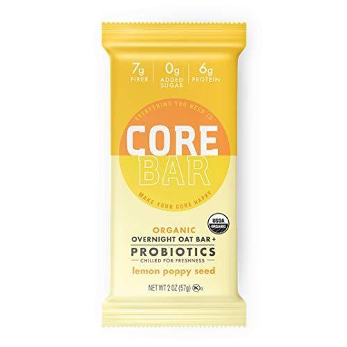 CORE Foods Organic Overnight Oat Bar + Probiotics, Gluten Free, non-GMO, Vegan, Kosher, Prebiotics, Lemon Poppy Seed, 2 oz, 16 Bars