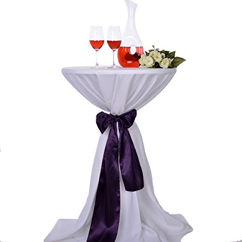 LOVWY 24 Inch (2 FT) Cocktail Tablecloth Seamless Polyester Fabric + Satin Sash Combination for Decoration of Wedding Engagement Club Bar Outdoor Party (White Tablecloth, ()