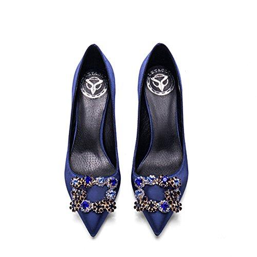 Zapatos Poco YIXINY EU39 Talón De Tacón Cm Alto XG Color 8 Zapatos Mujer Azul de Tamaño 9697 6cm Zapatos Boca 10 Boda Cm Cm 6 Seda Profunda PU CN39 8cm UK6 tacón Fine Apuntado qXxAXwOvr