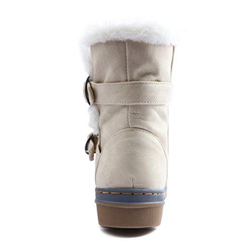 Odema Womens Helt Päls Fodrad Halkskydd Fotled Snö Stövlar Beige