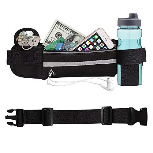 Aolerx Running Belt, Sweatproof Waterproof, Sports Fanny Pack Water Bottle Holder, Machine Washable,Can Hold Cash Keys Cards Phone(Below 6.5)