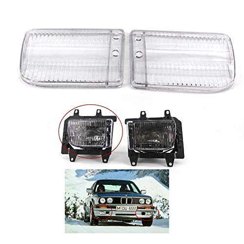 Daphot-Store - For BMW E30 3-Series 1985-1993 Auto Fog Lamp Cover Plastic Clear Lens Car Front Bumper Grille Fog Lights Lens Shell