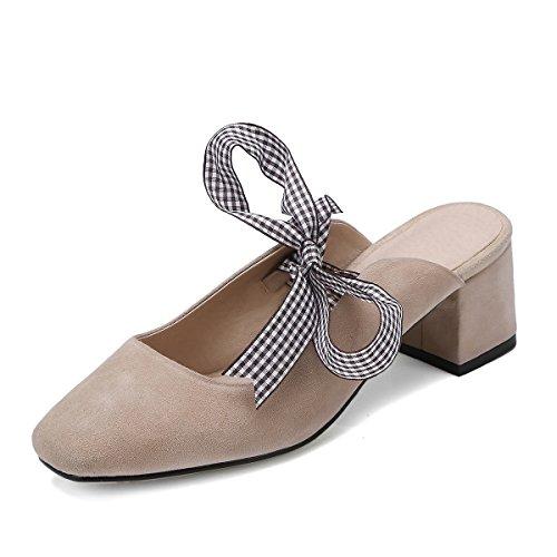 primavera Lazy Sandali e sandali sandali La Apricot Heeled High Qingchunhuangtang cinturino ciabattine l'estate wP8naU5q