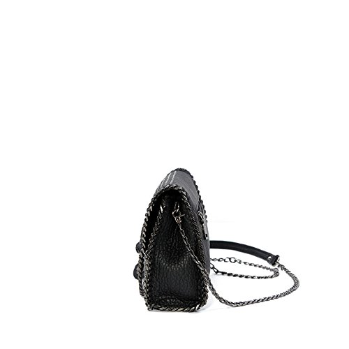 Negro Femenino Hombro Hombro de Zip Hombro Femenino PU Bolsa señora Crossbody Cuadrado Retro del Regalo Remaches Bolso Especial Messenger Embrague de de Sencillo Correas de Bag magnéticos 5gwWczRqT