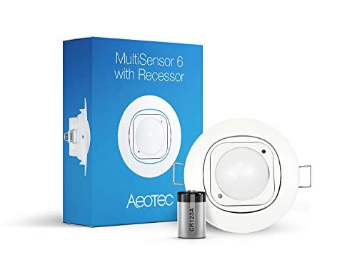 Aeotec Multisensor 6 & Ceiling Recessor, Z-Wave Plus 6-in-1 Motion, Temperature, Humidity, Light, UV, Vibration Sensor, Battery Included ()
