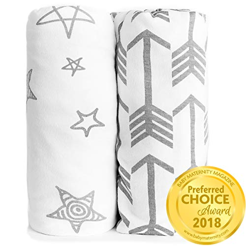 Crib Sheet Set 100% Jersey Cotton | 2-Pack | Fitted Cotton Baby & Toddler Universal Crib Sheets for Boy | Mattress Bedding Sets | Comfy Changing Pad Cover | White Sheets | Nursery Accessories (Target And Yellow Bedding Gray)