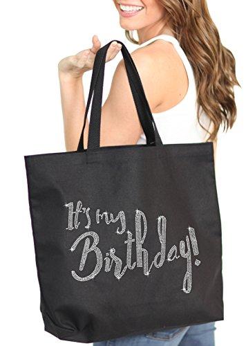 It's My Birthday Rhinestone Tote Bag - Birthday Party Decorations & Supplies - Black Gift Bag