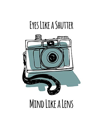 Eyes Like A Shutter Mind Like A Lens Camera Doodle Blue by Color Me Happy Art Print, 14 x 18 inches