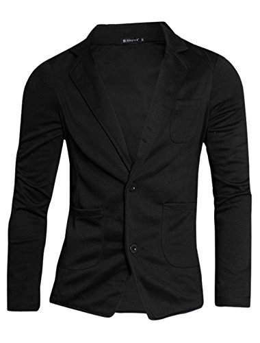 Allegra K Men One Chest Pocket Button Closure Blazer Black L