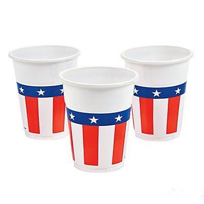 Patriotic Disposable Plastic Cups 2 units by ADVENTURER'S BAG
