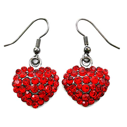 Valentine's Day Red Heart Earrings Love Be Mine Dangle Hook Style Red Paved Rhinestone Fashion Jewelry