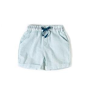 Gorboig Boys Summer Beach Shorts Cotton Woven Shorts With Aqua Stripe Bubble Short Elastic Waist