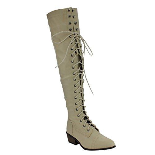 Beston De11 Donna Stringato Blazer Tacco Alto Sopra Il Ginocchio Stivali Alti Da Combattimento Beige
