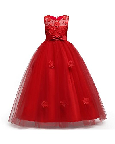 Big Girls Dresses Teen Princess Party Birthday Prom Gowns Sleeveless Floor Length 7-16 Age of 10 Ten Big Girl Dresses Size 10-12 Lace Tulle Bridesmaid Dresses for Girls 10-12 (6-7 Years Red 140)