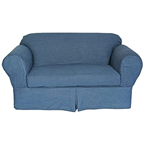 Slipcover, Heavyweight Durable Blue Washed Denim 2-Piece Loveseat Slipcover