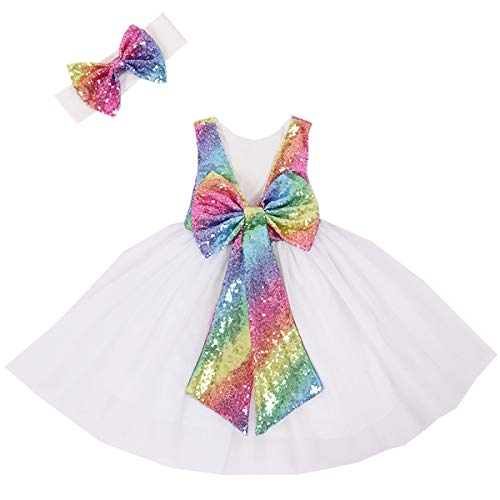 (Cilucu Flower Girl Dress Baby Toddlers Sequin Dress Tutu Kids Party Dress Bridesmaid Wedding Gown Birthday Dress Rainbow/White)