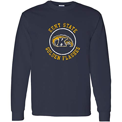 AL04 - Kent State Golden Flashes Distressed Circle Logo Long Sleeve - Medium - Navy