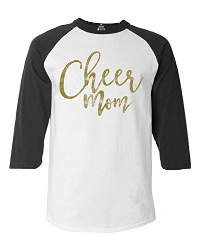 Shop4Ever Cheer Mom Gold Baseball Shirt Mother Raglan ShirtLarge White/Black 0