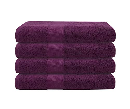 """4 PK Bumble Luxury Thick Bath Towels / 30"""" x 60"""" Premium Bath Sheet/Ultra Soft, Highly Absorbent 800 GSM Heavy Weight Combed Cotton (Violet)"""