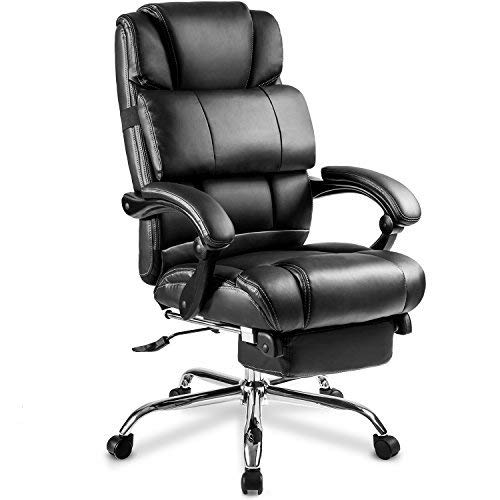 Recliner Leg Leather (Merax Portland Technical Leather Big & Tall Executive Recliner Napping - Black)