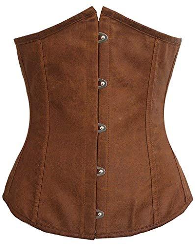 (Fashion Womens Sexy Satin Vintage Underbust Waist Training Corset (Brown,XL/Bust:35-37inch Waist:29-31inch))