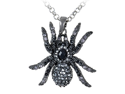 Alilang Hematite Czech Crystal Rhinestone Spider Pendant Necklace Black Clear Purple Gunmetal ()