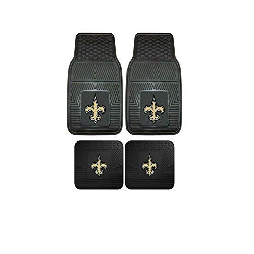 New Orleans Saints NFL 4pc Floor Mat Sets (Front and Rear) - Heavy Duty-Cars, Trucks, ()