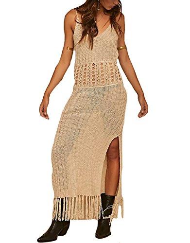 Bestyou Women's Side Split Maxi Dress Crochet Swimwear Cover Ups Swimwear (Apricot - Dress Crochet