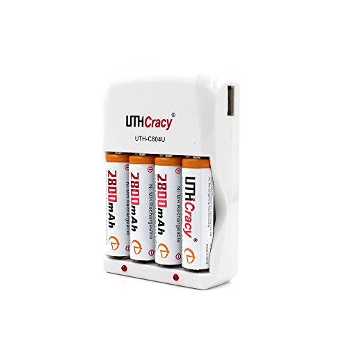 UTHCracy 4-Pack 2800mAh NiMH AA Rechargeable Batteries with Smart Battery Charger