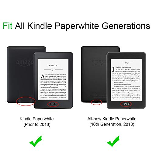 Fintie Folio Case for Kindle Paperwhite (Fits All-New 10th Generation 2018 / All Paperwhite Generations) - Book Style Premium Fabric Shockproof Cover with Auto Sleep/Wake, Denim Charcoal