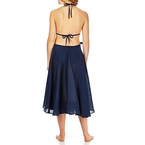 Para De Azul En Lino Pareo Vilebrequin Gasa Falda Mujer Liso Marino Larga Xwx8naq41