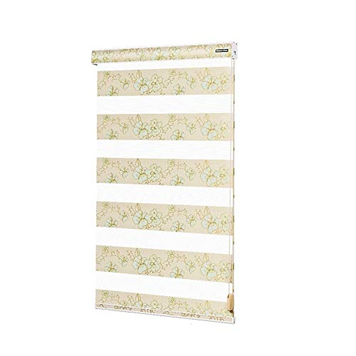 Window Blinds Vertical Stripes,Double Layer Soft Yarn Curtain Horizontal Blinds for Windows for Bathroom Bedroom Living Room Waterproof Blinds-A 94x182cm(37x72inch)