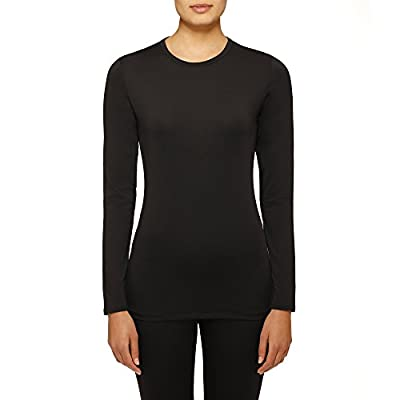 ClimateRight by Cuddl Duds Microfiber warm underwear Long sleeve top (Black)