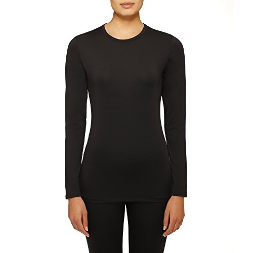 Cuddl Duds Womens Climate Right Thermal Top, Medium, Black ()