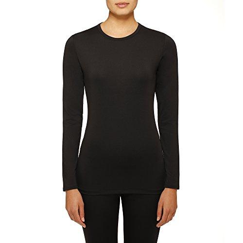 Cuddl Duds Womens Climate Right Thermal Top, Medium, Black (Cuddl Duds Black Long Underwear)