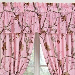 (1) AP Pink Camo 5 pc. Valance/ Drape Set (63 inch Drape Length)