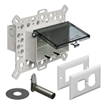 Arlington DBHM1C-1 Electrical Box with Weatherproof Cover for Textured Surfaces/Rigid Siding/Stucco, New-Construction, Clear, Horizontal, 1-Gang
