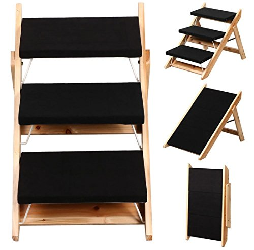 1-Pc Ideal Popular 2-in-1 Pet Ramp and Stairs Home Comfort Dog Steps Easy To Clean Colors Black