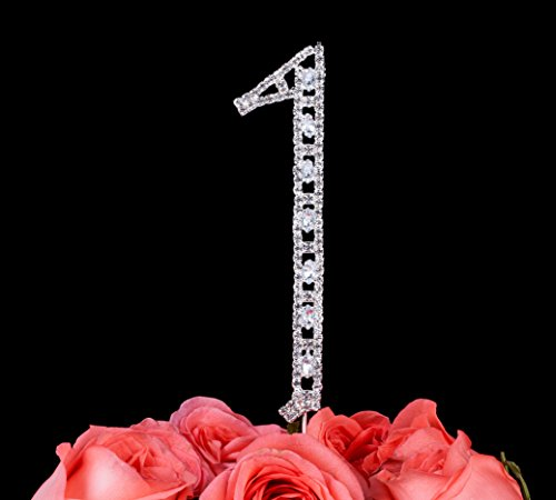 LOVENJOY with Gift Box Super Bling Number 1 1st First Happy Birthday Wedding Anniversary Baby Shower Crystal Rhinestone Cake Decoration Topper Silver (1.4-inch)