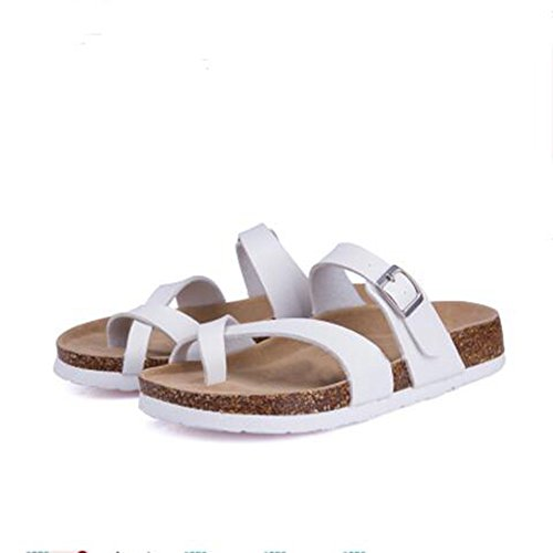 YaMiFan Womens Cross Toe Double Buckle Strap Summer Leather Flat Mayari Sandals 1 8